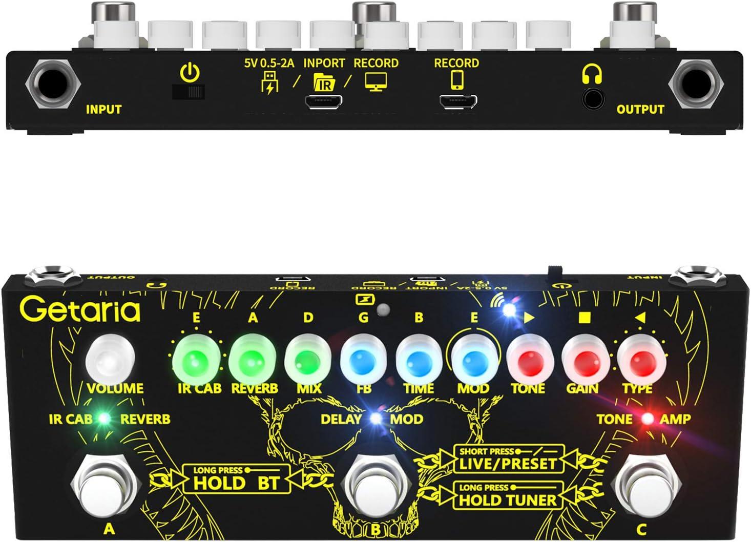 Getaria Pedal de efectos multifuncional para guitarra Cargar Archivo IR Pedal de Efectos Combinados para Guitarra con Overdrive Distortion Delay Modulación de reverberación Pedal de efectos