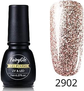 FairyGlo Rose Gold Glitter Nail Gel Polish Varnish Lacquer UV LED Soak Off Manicure Salon 7ML 2902