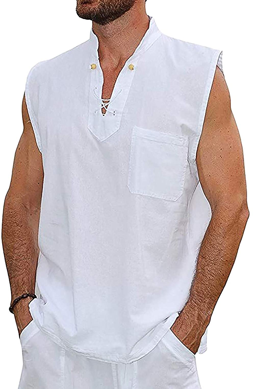 Huangse Men's Hawaii Tank Top Sets Sleeveless Beach Yoga V-Neck Drawstring T-Shirt Shorts Solid Summer Cotton Linen Sets