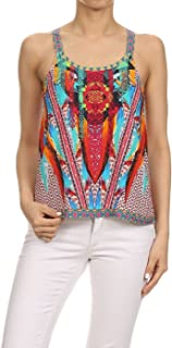Summer Boho Ethnic Unique Border Print Vest Tank Top with Sleeveless Strappy