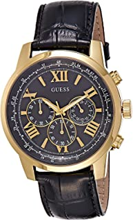 Guess Men's Black Dial Leather Band Watch - W0380G7