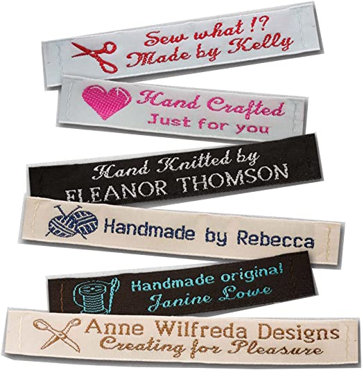 Personalized Fabric Labels Afghan Labels Quilt Fabric Labels Lady Bug Name Tag Labels Handmade Cotton Fabric Tag Labels Knit Sewing Sew On Custom Logo Labels Iron On Crochet