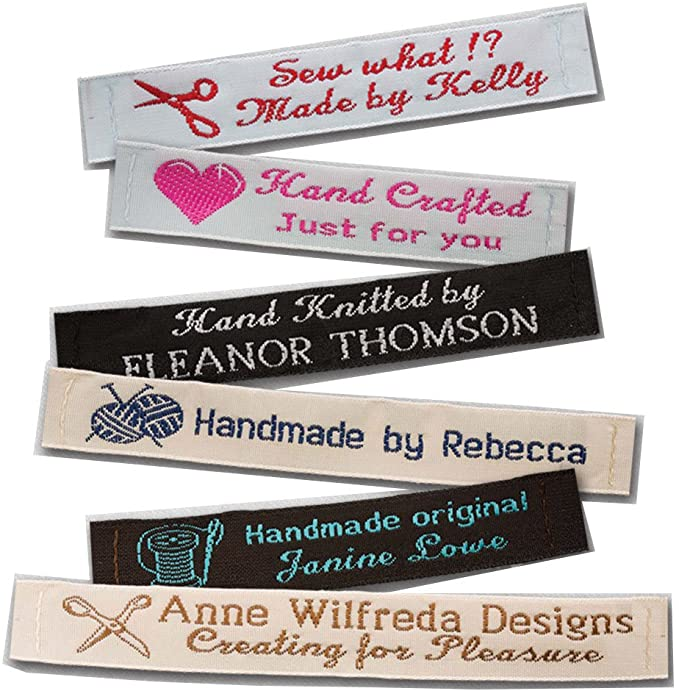Large Sew On Quilt Label Personalized Fabric Label for Handmade Items 1 Embroidered Label 4x5 inches