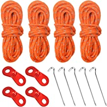 9Pcs Reflective Tent Guy Ropes and Tent Pegs,Tent Guide Lines Cord with Aluminum Tensioners Adjuster Curved Hook On Top for Securing Camping//Hiking//Awning//Tents