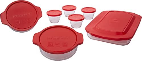 popular Made in Mexico Hornea Guarda Y Conserva PYR-O-RAY 14 Piece Glass Food Container Set Baking high quality Utility outlet online sale Custard Cups Dish With Lids online