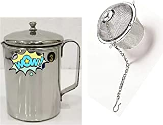 MAHA CREATION Stainless Steel Milk Frothing Latte Pourer Jug, 750ml (Silver)