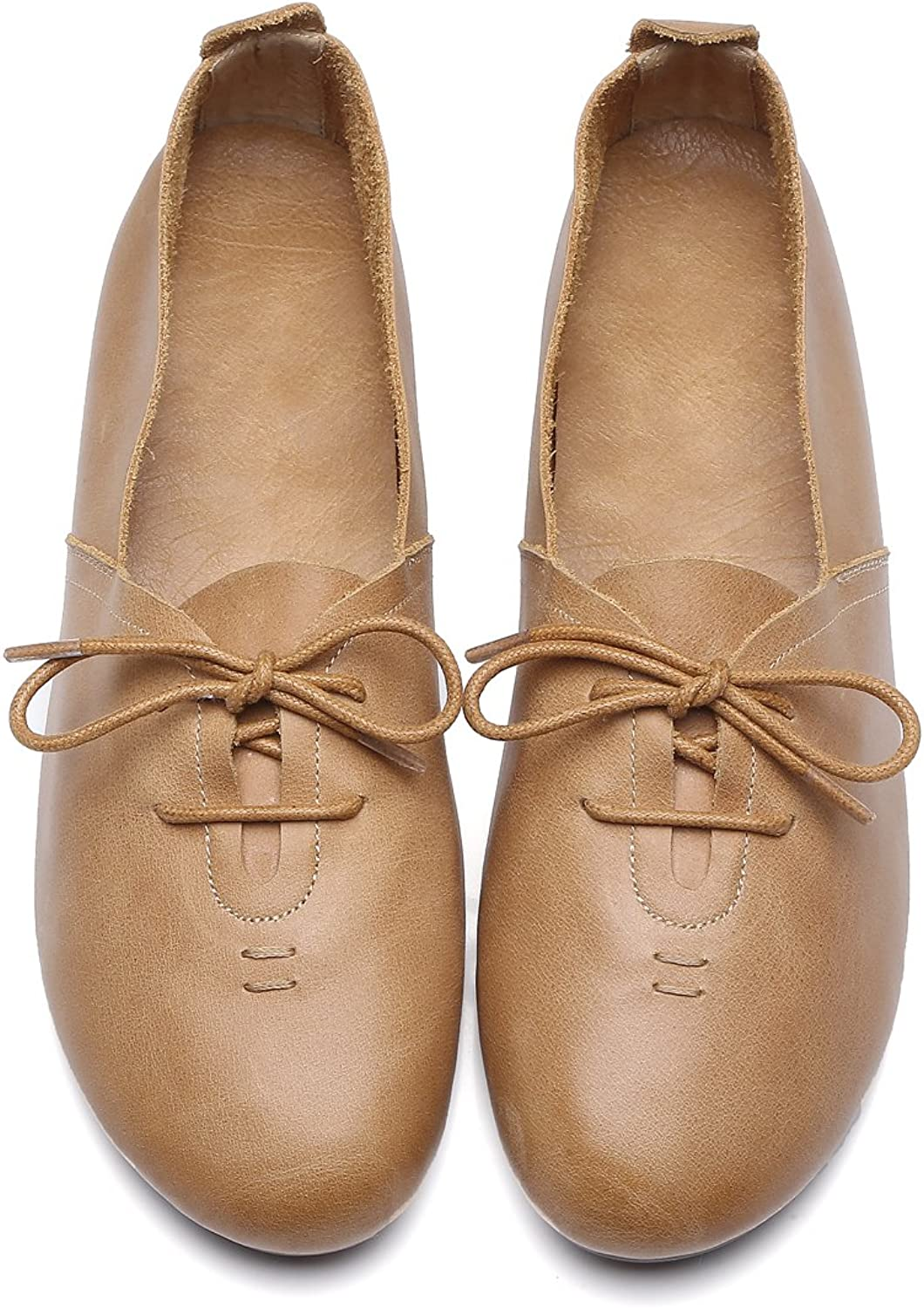 Women's Beautiful Sweet Genuine Leather Flats shoes Comfortable Soft Simple Design Round Toe shoes Women