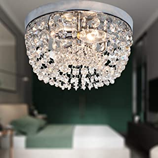 FERWVEW 2 Lights Modern Crystal Ceiling Light, Mini Crystal Chandelier Lighting Fixture, Flush Mount Chrome Finish Bedroom Living Room Hallway Crystal Ceiling Lamp