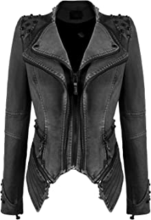 1bffc122fae1 chouyatou Women's Fashion Studded Perfectly Shaping Faux Leather Biker  Jacket