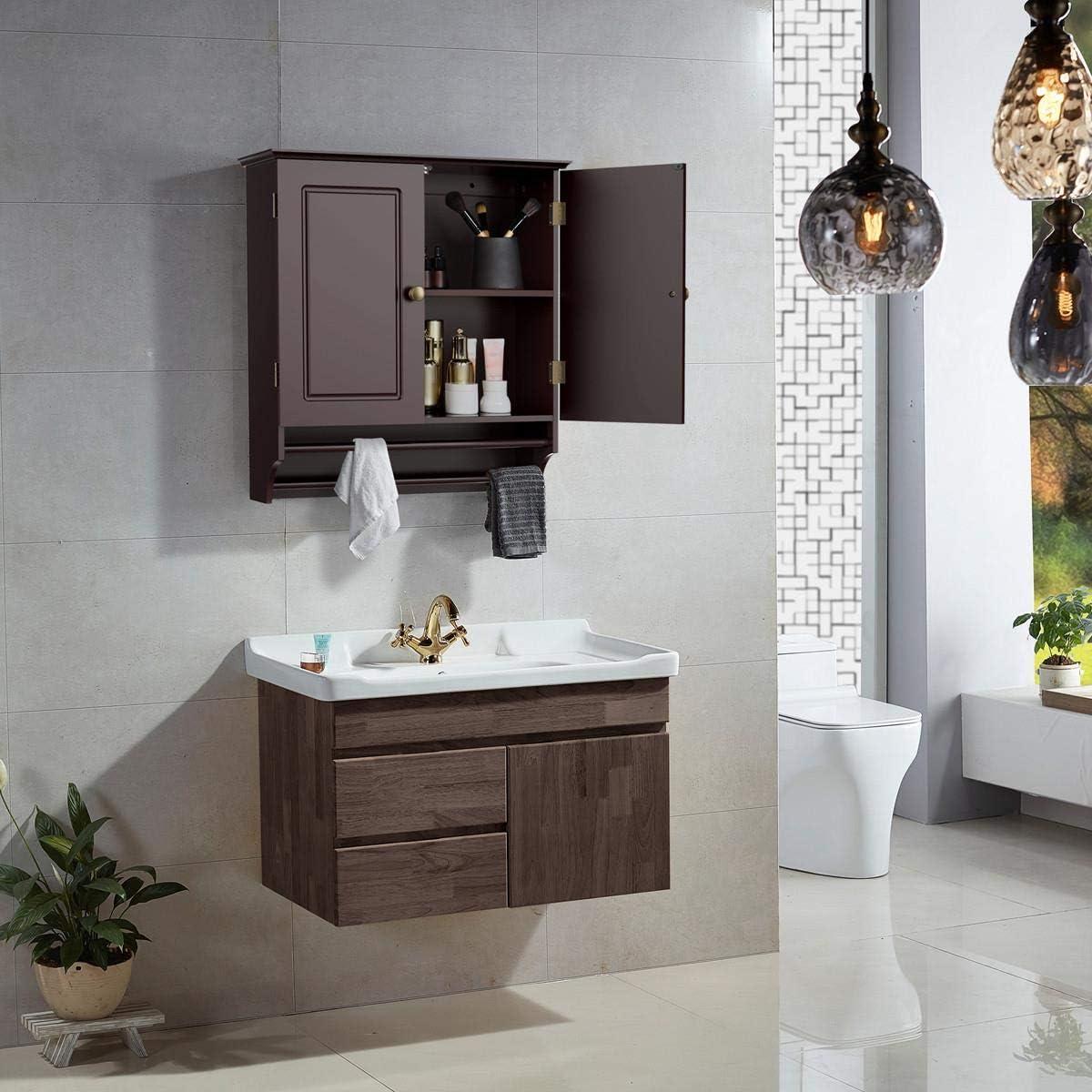 Buy Yaheetech Bathroom Kitchen Wall Storage Cabinet Collection Wall Cabinet 2 Door Wall Cabinet Espresso Online In Italy B07fgc35xy