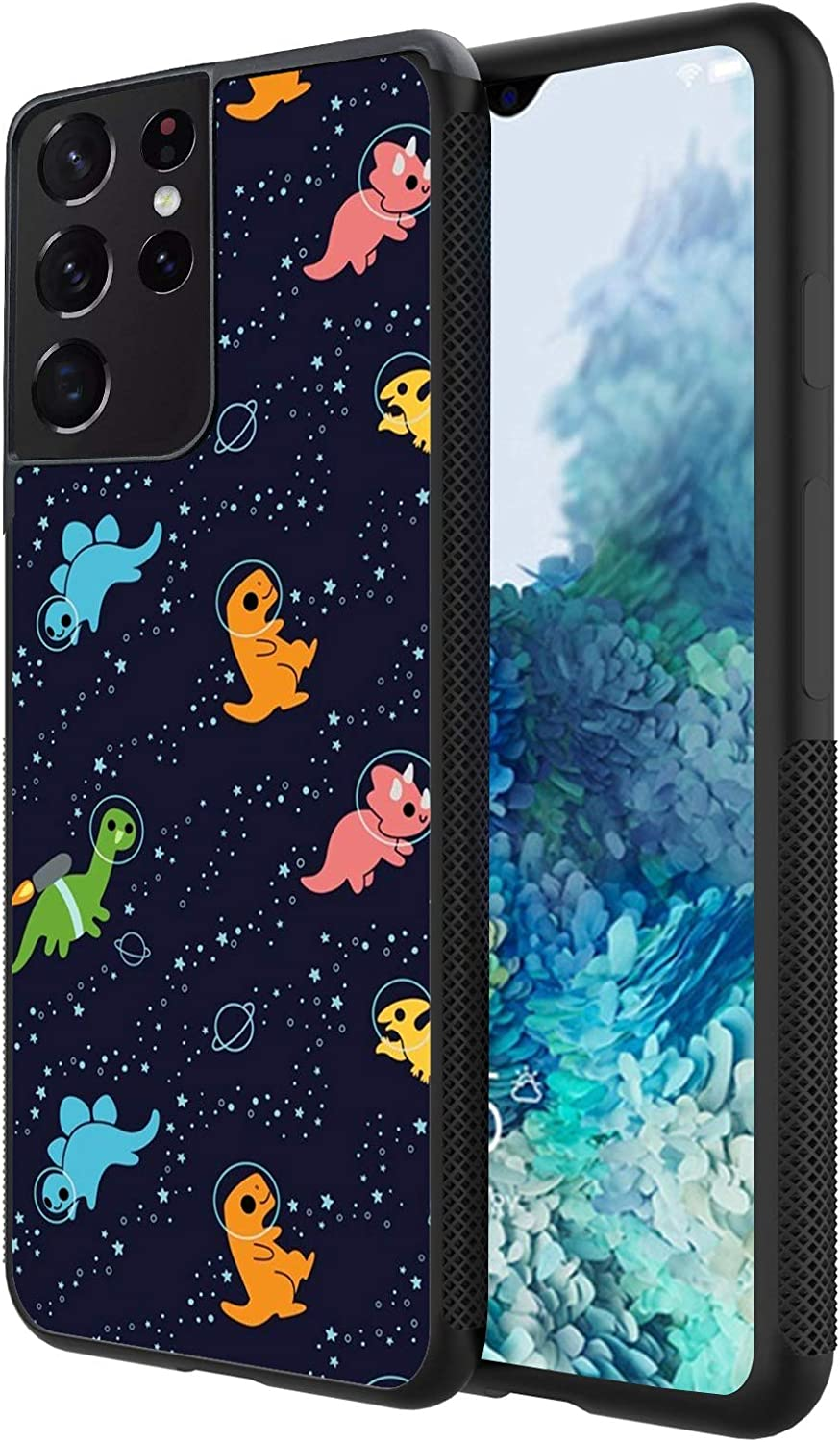 Yunan Case for Samsung Galaxy S21 Ultra, Black Dinosaurs in Space Pattern Design for Men and Women,Anti Slip TPU Bumper Shockproof Cover Case for Samsung Galaxy S21 Ultra