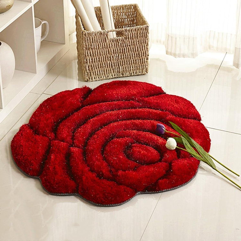 DYI European Style 3D Stereo Silk pink Round Carpet, Carpet Living Room, Bedroom Swivel Chair Computer Chair Mat