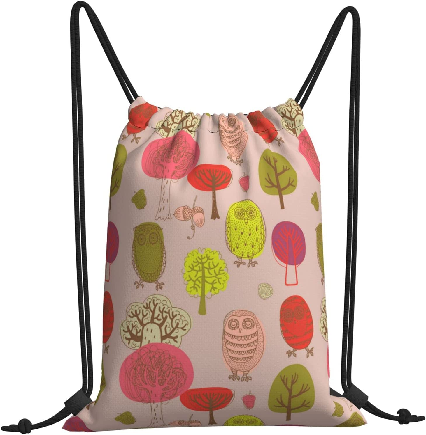Autumn Forest With Max 50% OFF Owls Gymnastics Drawstring Backpack Direct store Bag Beach