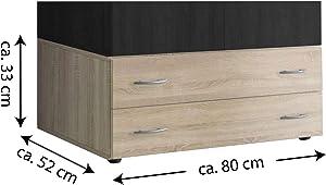 AVANTI TRENDSTORE - Balu 2 e 3, Armadio Inferiore, componimento per l'armadio Principale, con cassetti, in 2 Diversi Colori e 2 Diverse larghezze (Marrone, con 2 cassetti)