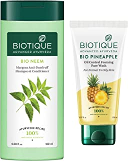 Biotique Bio Neem Margosa Anti Dandruff Shampoo and Conditioner, 180ml And Biotique Bio Pineapple Oil Control Foaming Face...