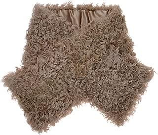 Women Luxurious Classic Solid Color Warm Soft Sheepskin Snood Fur Collar Scarf