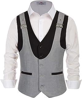 PJ PAUL JONES Men's Business Layered Suit Vest Vintage Slim Fit Waistcoat