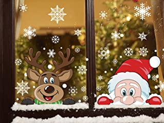 300 PCS 8 Sheet Christmas Snowflake Window Cling Stickers for Glass, Xmas Decals Decorations Holiday Snowflake Santa Claus Reindeer Decals for Party