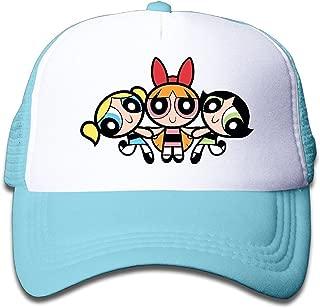 WH&SY Powerpuff Girls Children Mesh Trucker Cap Adjustable Fashion Kids Mesh Snapback Hat Snapbacks Black