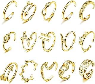 HANPABUM 15 anillos ajustables para dedo del pie de varios tipos, anillo abierto para mujer, joyería de playa de verano