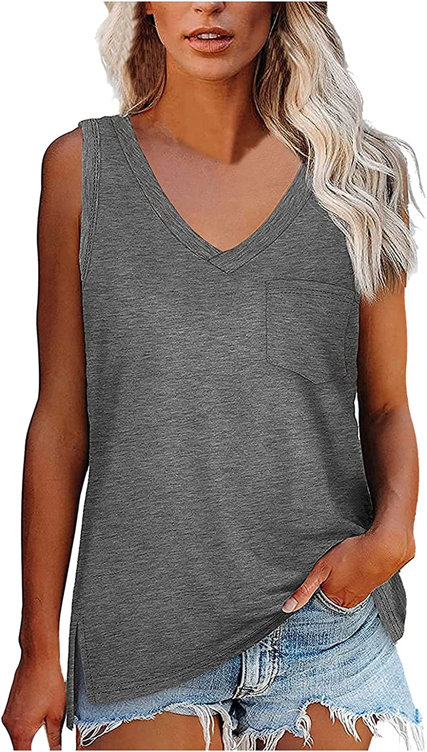 JPLZi Womens Tank Tops Loose Fit V Neck Summer Sleeveless Tops with Pocket