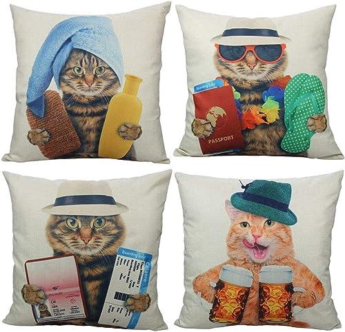 All Smiles Gato Exterior Fundas de Cojín y Almohada Decorativas Garfield Atigrado y Naranja Divertidos Animales Lindo...