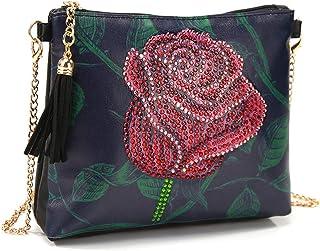 VETPW 5D Rose Blumen Diamond Art Painting Cross-Body Tasche, Diamant Malerei Leder Münze Geldbörse Reißverschluss Handtasc...