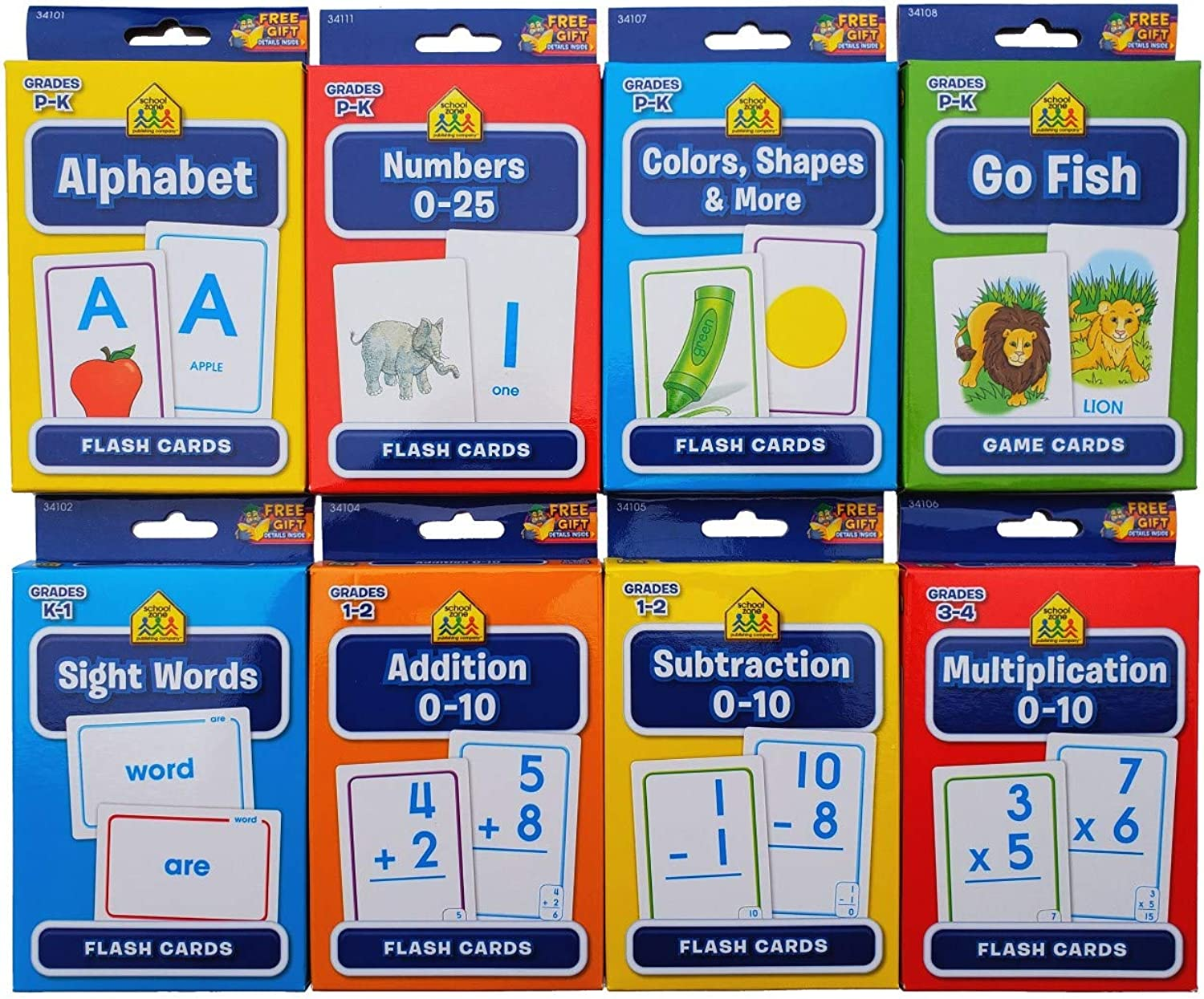 School Zone Flash Cards 8Pack (Alphabet, Numbers 025, colors and Shapes, Sight Words, Addition 010, Subtraction 010, Multiplication 010, Go Fish)