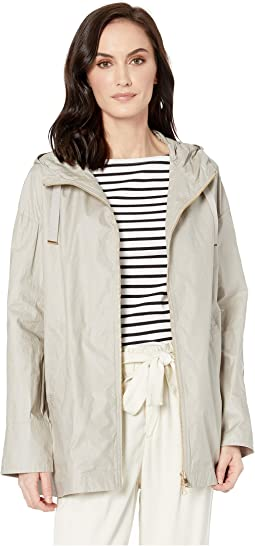 Spring Parka Zip-Up Hooded Jacket with Back Pleat