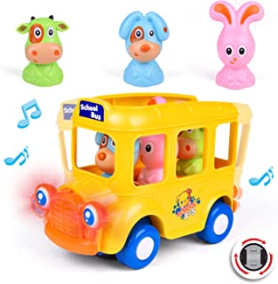 Musical School Bus with Lights, Electronic Bump and Go Car Toys for Baby and Toddlers, Gifts for Boys and Girls