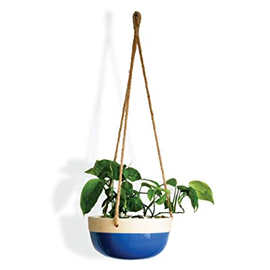 Carlton Lane Bonn - Ceramic Plant Hangers – Hanging Pots for Plants – Large 9.8 x 9.8 x 4.7-Inch Hanging Planters for Indoor and Outdoor Flowers – Anti-Rope Rot Design with Drainage Holes – Blue