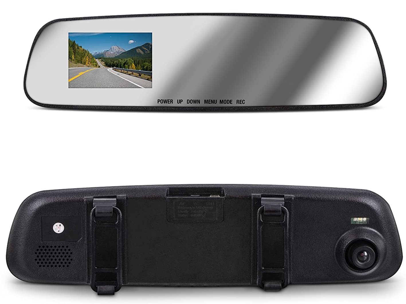 Aduro MirrorCam Rear View Mirror with Front Video Camcorder for Safety in HD, 2.6 in LCD Display, Wide Angle Lens, Seamless Video/Picture/Voice Recording, Multiple Languages vrwwhxhscxf847