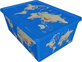 QUTU TrendBox World-2 Storage Box - Blue, H 19 cm x W 11.5 cm x D 33.5 cm