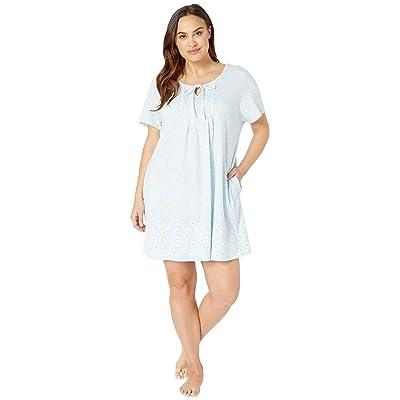 Carole Hochman Plus Size Short Gown CH31701X (Blue Daisy Border) Women