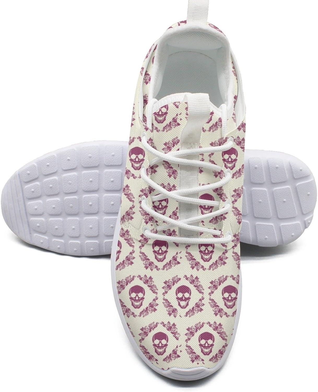 Skull in The Frame of pinks Women's Lightweight Mesh Sneaker Casual Walking shoes