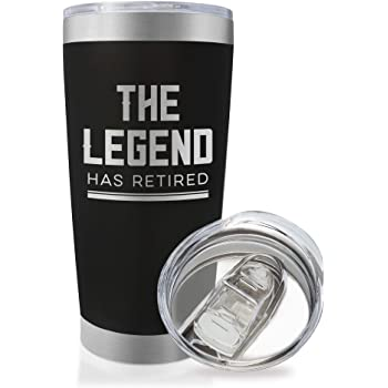 The Legend Has Retired - 20 Ounce Engraved Stainless Steel Insulated Travel Mug for Retired Men Dad Husband Boss | Retirement Party Coffee Mug | Retiree Tumbler (20 Ounce, Black)