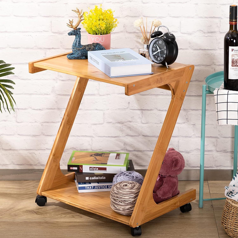 Praktiban 2-Tier Bamboo Sofa Fashionable Side 5 ☆ popular Plant St Snack Table End