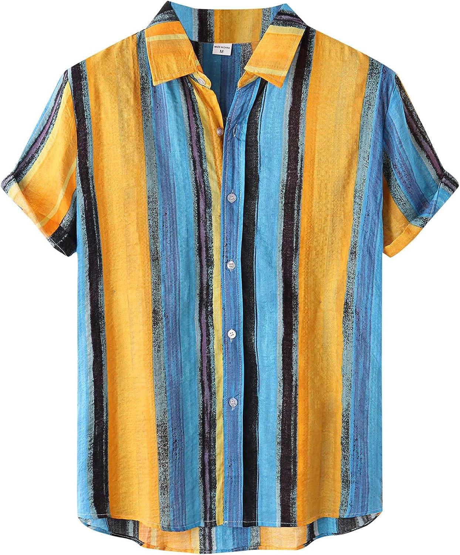 FRSH MNT Hawaiian Shirt for Men Regular Fit Short Sleeve Button Down Beach Shirt