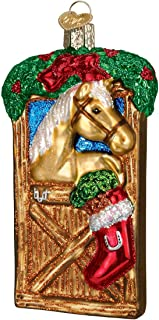 Old World Christmas Ornaments: Horse in Stall Glass Blown Ornaments for Christmas Tree