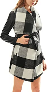 Allegra K Women Plaids PU Panel Turn Down Collar Belted Coat