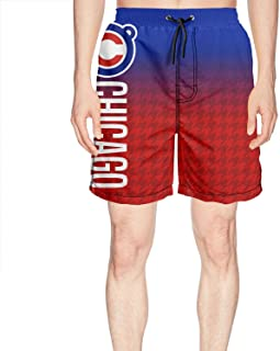 Red Wavy Striped Baseball Team Blue Background Mens Beach Shorts Quick Dry Surfing Pockets Casual Summer