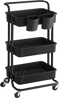 SONGMICS Wózek, 3 poziomy, wózek do serwowania, wózek kuchenny z uchwytem, 2 małe wiszące przegródki, 2 hamulce, plastikow...