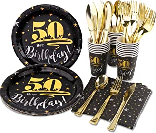 HAPYCITY 50th Birthday Plates(144Pack)Black Gold Party Supplies 50 Party Decorations For Men Women