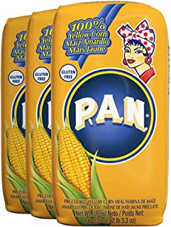 P.A.N. Yellow Corn Meal – Pre-cooked Gluten Free and Kosher Flour for Arepas, 1 Kilogram (35 Ounces / 2 Pounds 3.3 Ounces) (Pack of 3)