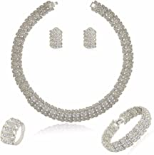 MOOCHI 18K Gold/Silver Plated Shinning Wide Necklace Crystal Jewelry Sets Necklace Earrings Bracelet Ring