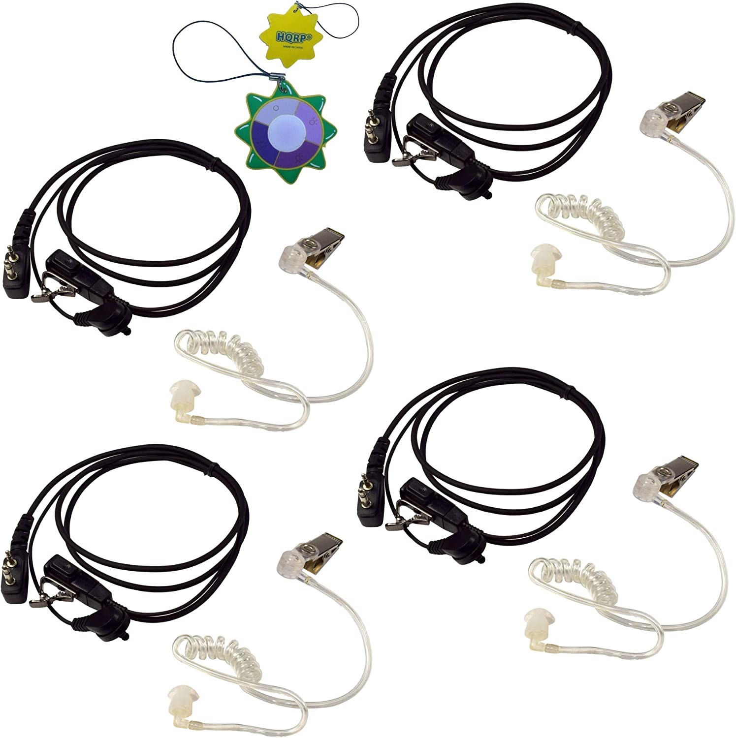 4X HQRP 2 Pin Acoustic Tube Headsets お歳暮 Mic wit Compatible Earpiece SEAL限定商品