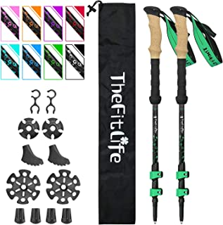 TheFitLife Nordic Walking Trekking Poles - 100% Carbon Fiber Collapsible and Telescopic Walking Poles, 2-Pack, Ultra Light...