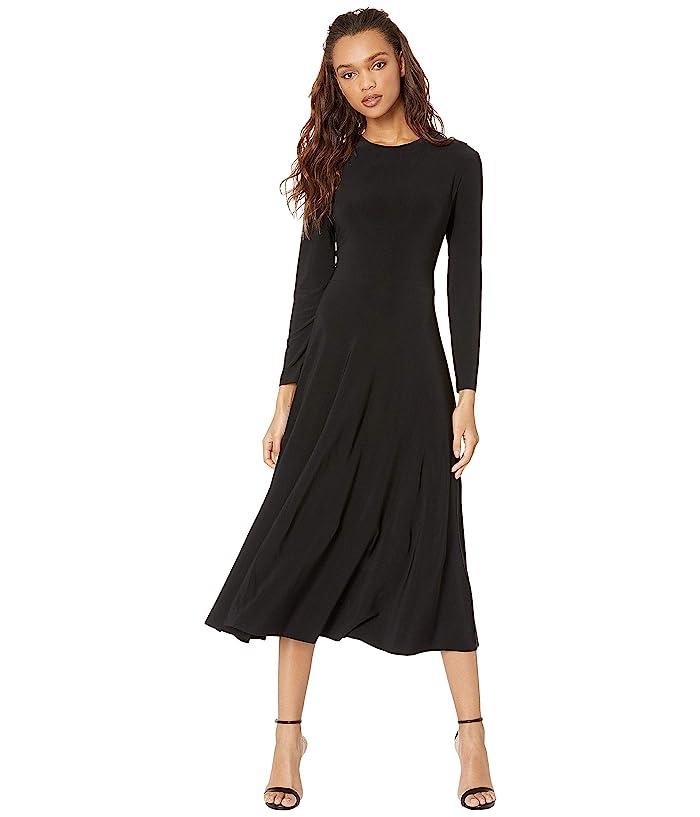 KAMALIKULTURE by Norma Kamali Long Sleeve Flared Dress (Black) Women