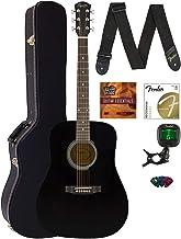 Fender CD-60S Solid Top Dreadnought Acoustic Guitar - Black Bundle with Hard Case, Tuner, Strap, Strings, Picks, Austin Ba...
