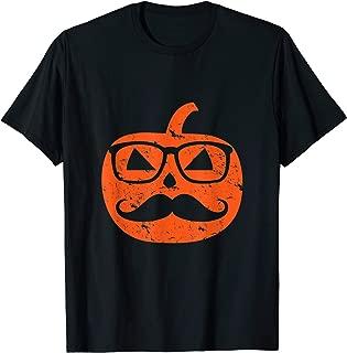Nerd Geek Pumpkin With Mustache Wearing Glasses Halloween T-Shirt